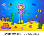 cute cartoon scuba diver and... | Shutterstock . vector #324322811