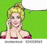 smiling sexy blond girl with... | Shutterstock . vector #324328565