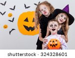 happy brother and two sisters... | Shutterstock . vector #324328601