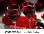 wine and christmas decoration... | Shutterstock . vector #324334667