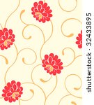 Seamless blossoming flowers pattern in warm colors - stock vector