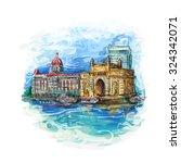 maharashtrai  india gate and... | Shutterstock .eps vector #324342071