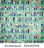 multiethnic casual people... | Shutterstock . vector #324345941