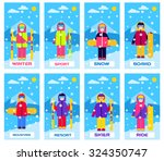 people in ski and snowboard... | Shutterstock .eps vector #324350747