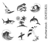 surfing icons set. sport surf... | Shutterstock .eps vector #324351821