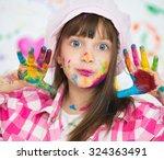 portrait of a cute cheerful... | Shutterstock . vector #324363491