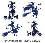 set of vector silhouette... | Shutterstock .eps vector #324363629