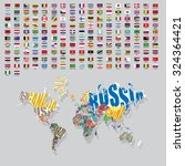 world flags all vector color... | Shutterstock .eps vector #324364421