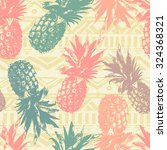 seamless pattern with pineapple ... | Shutterstock .eps vector #324368321