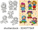 coloring book or set cartoon... | Shutterstock .eps vector #324377369