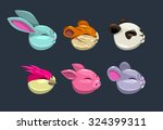 cartoon round animal faces ... | Shutterstock .eps vector #324399311
