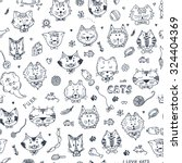 cats vector seamless pattern.