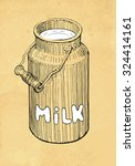 Hand Drawn Milk Can On Abstrac...