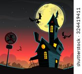 scary house on night background ... | Shutterstock .eps vector #324419411
