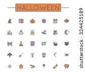 Vector Colored Halloween Line...