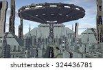 ufo flying above futuristic...   Shutterstock . vector #324436781