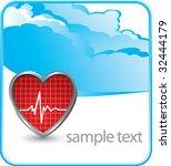 heart beat on cloud banner | Shutterstock .eps vector #32444179