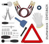 emergency road kit items set.... | Shutterstock .eps vector #324518624