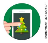 circle christmas icon flat tree | Shutterstock . vector #324520517