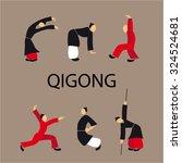 men doing qi gong tai chi...   Shutterstock .eps vector #324524681