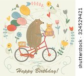 birthday card with funny bear... | Shutterstock .eps vector #324529421