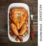 roasted chicken with vegetables ... | Shutterstock . vector #324537194
