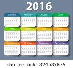 calendar 2016 year vector... | Shutterstock .eps vector #324539879