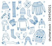 winter clothes set | Shutterstock .eps vector #324542021