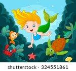 little mermaid swimming...   Shutterstock .eps vector #324551861