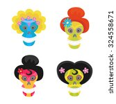 set with colorful skulls for... | Shutterstock .eps vector #324558671