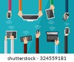 hands holding various high tech ... | Shutterstock .eps vector #324559181