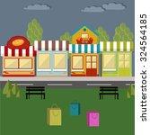 Retro Colorful Shopping Street...