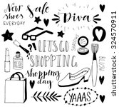 hand drawn shopping doodle... | Shutterstock .eps vector #324570911