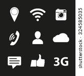 social network icon set. media... | Shutterstock .eps vector #324585035