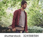 young hipster fashion guy and... | Shutterstock . vector #324588584