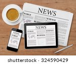 news page on tablet  mobile... | Shutterstock . vector #324590429