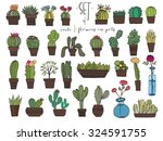 cute hand drawn vector cacti in ... | Shutterstock .eps vector #324591755