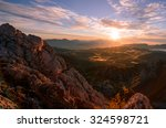 Stock photo sunrise in the mountains early morning as viewed from the top of visevnik hill with vast landscape 324598721