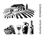 rural landscape with vineyard... | Shutterstock .eps vector #324604631