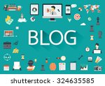 the word blog with long shadow... | Shutterstock .eps vector #324635585