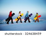Group Of Snowboarders Extreme...