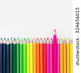 colorful wooden crayon on white ... | Shutterstock . vector #324656015