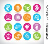 artificial intelligence icons ... | Shutterstock .eps vector #324669647