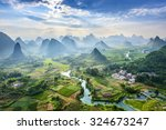 landscape of guilin  li river... | Shutterstock . vector #324673247