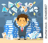 business man throw papers hold... | Shutterstock .eps vector #324680807