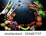 spices with ingredients on dark ... | Shutterstock . vector #324687737