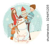 snowman and happy family....   Shutterstock .eps vector #324691205