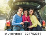 portrait of a smiling family... | Shutterstock . vector #324702359