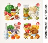 groups of healthy fruit ... | Shutterstock .eps vector #324706805