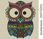 pattern boho ornamental owl... | Shutterstock .eps vector #324714251